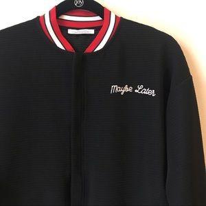 Zara Maybe Later Embroidered Rib Bomber Jacket
